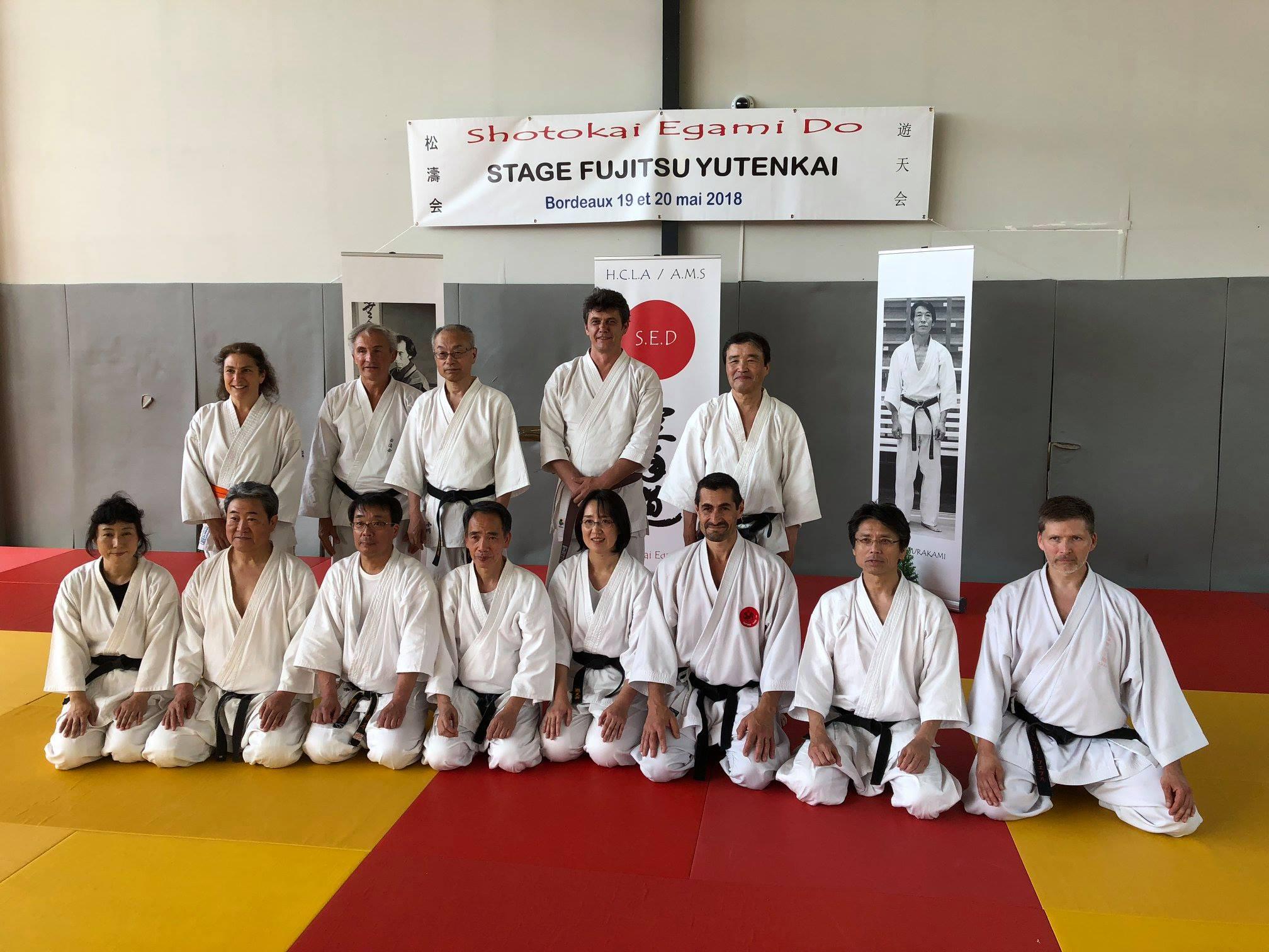 Photo de groupe des adhérents AMS 20 mai 2018 séminaire Fujitse Yutenkai, Creps de Talence