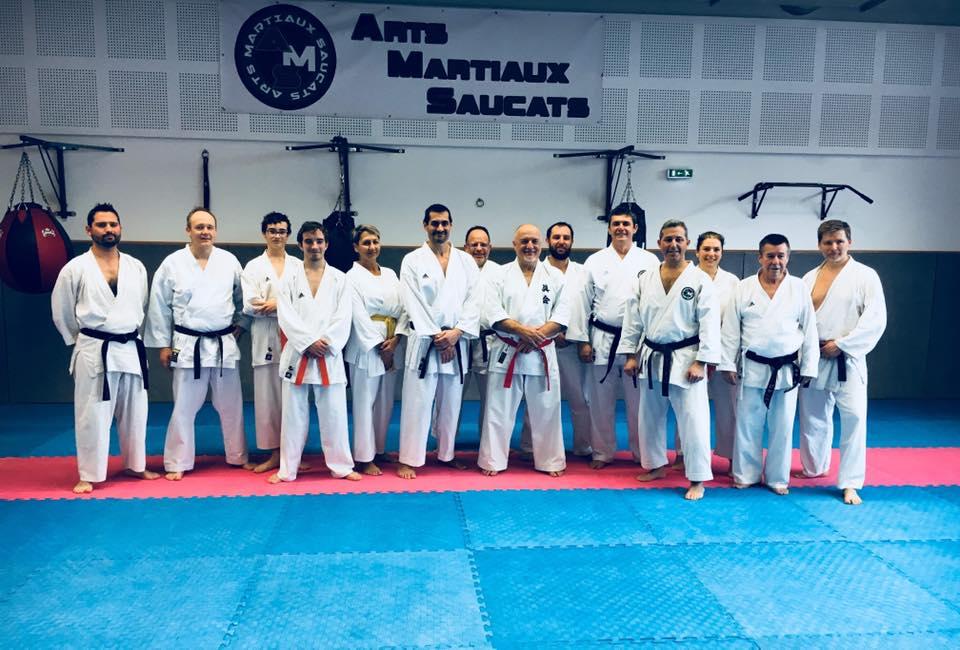 Photo de groupe des adhérents AMS stage Paolo Bolafio karaté janvier 2019