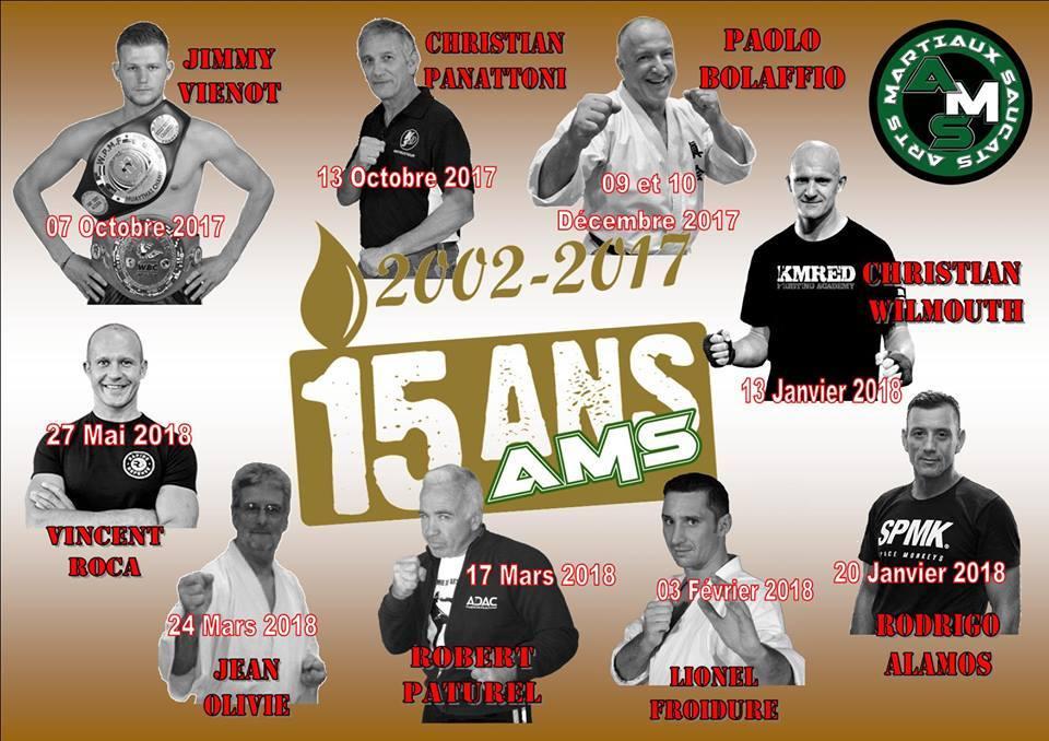 Affiche de stage de l'anniversaire des 15 ans des AMS saison 2017-18